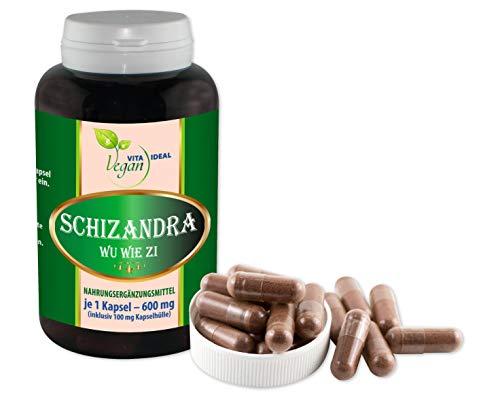 VITAIDEAL VEGAN® Schisandra Pulver (Schizandra Wu Wie Zi) 120 pflanzliche Kapseln je 500mg rein natürlich ohne Zusatzstoffe.