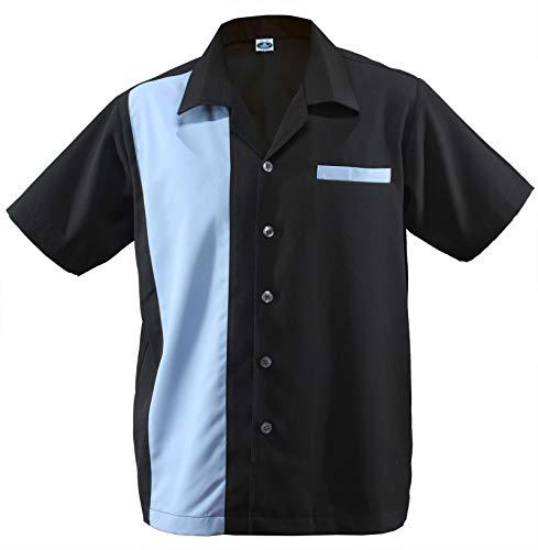 Herren Bowling Shirt Worker Hemd Rockabilly Two Tone Gabardine Lounge Fifties Vintage Retro Double Panel D660 (M/Medium, Schwarz/Blau)