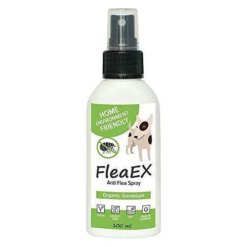 Flohspray für Hunde FleaEX | 100ml BIO Flohmittel Hunde zum Sprühen | Natürliches Anti Flohspray mit Zitronenöl | Flohhalsband für Hunde Alternative