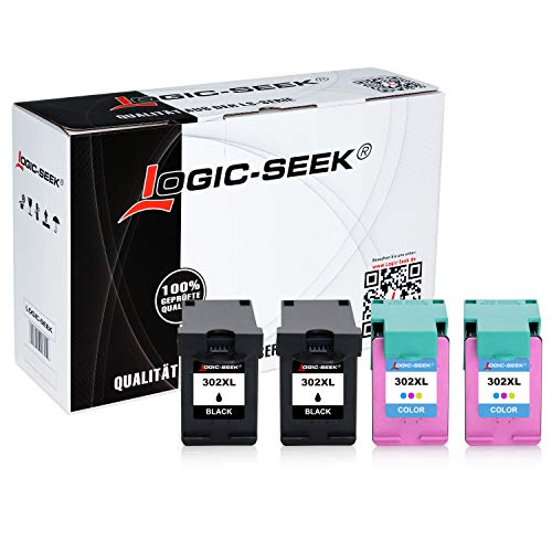 4 Logic-Seek Tintenpatronen kompatibel zu HP 302 XL 4-Multipack OfficeJet 5230, Officejet 3831, Officejet 3833, Deskjet 3630, Envy 4520, Officejet 3830