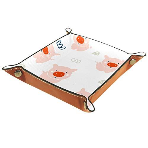 AITAI Bandeja de valet de piel vegana para mesita de noche, organizador de escritorio, plato de almacenamiento Catchall con cerdos y corona, color rosa