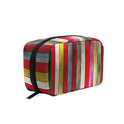 Cosmetic Bag with Zipper Rainbow Wooden Clutch Travel Storage Bag Organizer Case for Women Makeup Pouch Bag