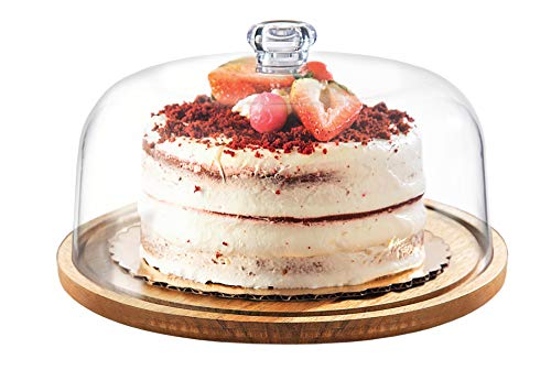 Godinger Cake Stand, Cake Platter Server with Dome, Acaciawood and Shaterproof Acrylic Lid