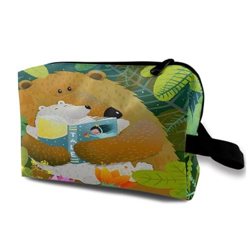 Neceser de Viaje Colgante,Libro de Lectura de Madre Oso para bebé Cachorro en el Bosque,Organizador de Maquillaje cosmético,Bolsa de higiene y Organizador de Ducha