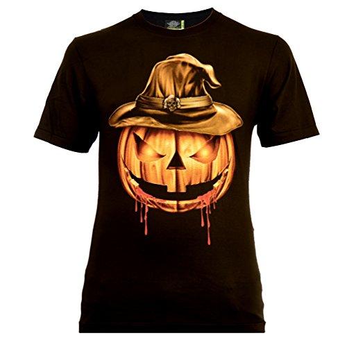 Halloween Pumpkin Herren T-Shirt Schwarz Gr. M Glow in The Dark