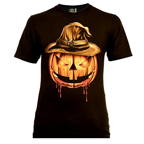 Halloween Pumpkin Herren T-Shirt Schwarz Gr. M Glow in The Dark