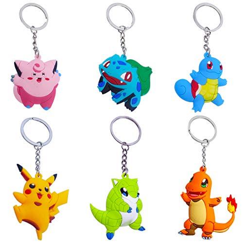 Porte-Clés Pokémon-YUESEN Pokemon Monster Anneau de Clé Pokemon Porte-Clés Pikachu Mignon Pikachu Porte-Clés pour Garçon Fille Enfants Pendentif Porte-Clés Cadeaux(12pcs)
