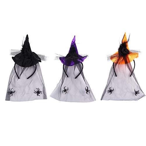 VALICLUD Diademas elásticas para Mujer Sexy con Sombreros de Bruja Accesorios de Vestir de Moda 3 Piezas