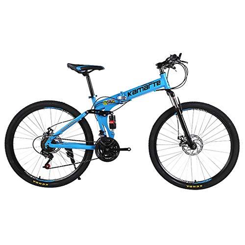 SHUANGA 24 Zoll leichtes Mini Faltrad Kleines tragbares Fahrrad Erwachsener StudentFaltbares Mountainbike 24 Zoll Fahrrad für Erwachsene mit variabler Geschwindigkeit