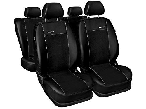 A4 B7 Fundas de asiento a medida, ajuste perfecto, fundas protectoras de asiento de terciopelo + acolchado de punto, decoración de coche (Premium A4 B7), color negro