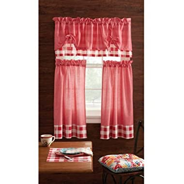 Pioneer Woman 3 Piece 30 X36  Country Charm Garden Kitchen Window Curtain Valance - Charming Check Red