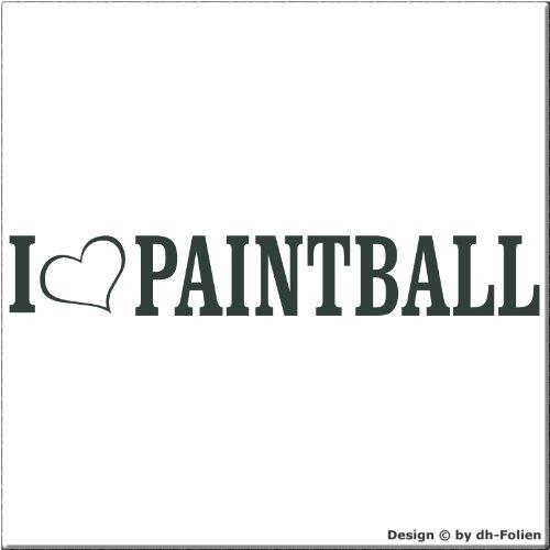 cartattoo4you AL-00872 | I LOVE (als Herz) PAINTBALL | Autoaufkleber Aufkleber FARBE anthrazit , in 23 weiteren Farben erhältlich , glänzend 20 x 3 cm Waschstrassenfest Versandkostenfrei , Motiv Copyright by dh-Folien