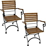 Sunnydaze Deluxe European Chestnut Wooden Folding Small Bistro Dining Armchair - Portable, Compact Side Chair - for Indoor or Outdoor Use - Patio, Deck, Balcony, Camping and Spare Seating - Set of 2