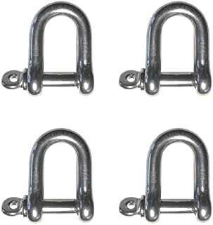 4 Pieces Stainless Steel 316 Forged D Shackle Marine Grade 1/4