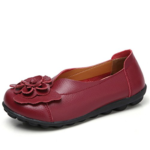 Socofy Slip On Leather Flat Shoes,Women's Outdoor Flower Decoration Handmade Casual Lazy Soft Loafers Wine Red 9 B(M) US
