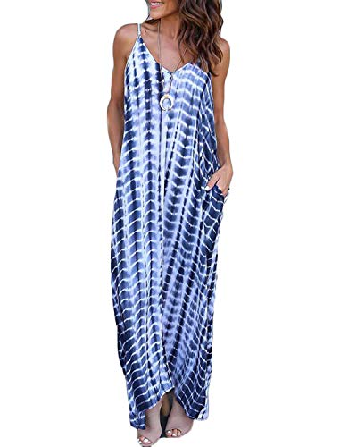 VONDA - Vestido largo para mujer, cuello en V, con tirantes, vestido largo de playa Serpiente azul M