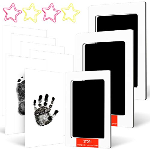 13 Piece Large and Medium Baby Inkless Handprint Footprint Kit Include 3 Touch Ink Pad 6 Imprint Card and 4 Star Shaped Paper Clip Paw Stamp Print Keepsake Kit for Newborn Birth Registry (Black)