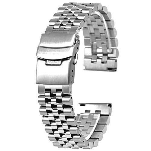 Kai Tian Silber Uhrenband 22mm Metallarmband Super 3D Perlen Armbanduhr für Damen Herren Ingenieur Uhr Armband Schraube feste Links konische Riemen