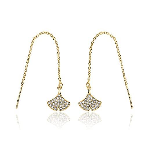 S925 Sterling White Fungus Line - Pendientes de aro con borlas de corte largo para mujer, diseño de diamante en forma de abanico, regalo de boda (color metálico: chapado en oro amarillo)