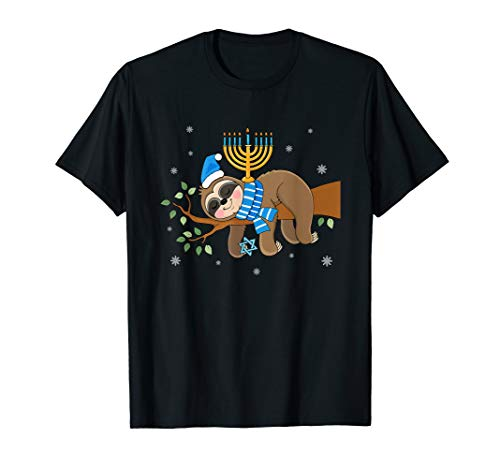 Cute Menorah Hanukkah Sloth Chanukah T-Shirt