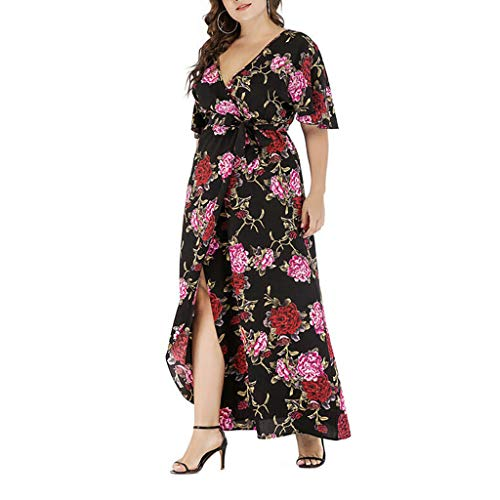 Amazing Deal Kariwell Women Dresses - Fashion Women Plus Size V-Neck Foral Printed Bandage Short Sle...