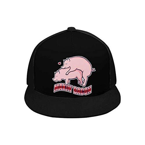 INTERESTPRINT Funny Sayings Makin' Bacon Men Women Cotton Adjustable Twill Snapback Hat Classic Hip Hop Cap, Black
