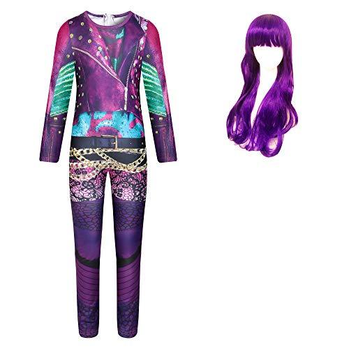 Trajes de Audrey para niñas Descendientes 3 Mal Dress up Juego de rol Fiesta Mono púrpura Regalo de fantasía para niñas con Peluca púrpura