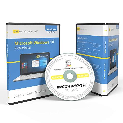 Original Microsoft® Windows 10 Professional 64bit ISO DVD + Lizenz - inkl. aller aktuellen Updates. DVD Box S2 Software PRO mit Lizenzunterlagen & Lizenzkey