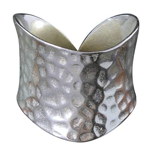 NicoWerk Silberring - Breiter Ring im Vintage Stil - Gehämmertes Design - Verstellbar für jeden Finger - Hohe Qualität - Inkl. Geschenkverpackung 193