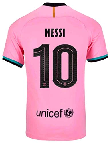 2020-2021 Season Men's Third Soccer Jersey/Short Colour Pink (Barcelona Messi #10 (S))