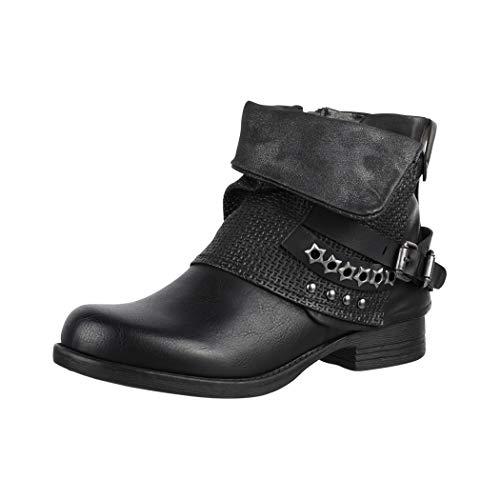 Elara Damen Stiefeletten Biker Boots mit Nieten Chunkyrayan BZ8399-KB Black-40
