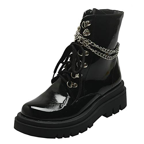 Etebella Damen Gothic Plateau Lack Stiefeletten mit Kette Flache Ankle Boots zum Schnüren Moderne Punk Schuhe (Schwarz,41)