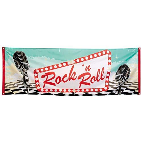 NET TOYS Extravaganter Rock'n'Roll Deko-Banner - 74x220cm - Stylische Party-Dekoration Wanddeko 50er Jahre Party - Genau richtig für Karneval & Mottoparty