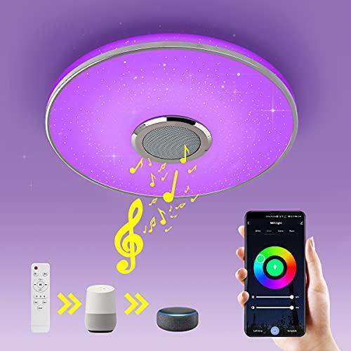 Wayrank Lámpara Led Techo con Altavoz Bluetooth,36W Plafon Led Techo RGB Controlada por APP y Control Remoto, Wifi Luz Techo Cocina Compatible con Alexa Google Assistant