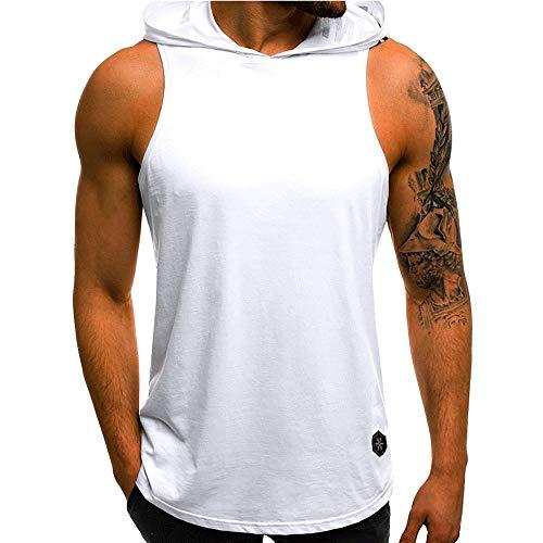 Realdo Mens Tank Tops Undershirts, Mens Casual Athletic Sleeveless Sport Pullover Hoodie Vest Tops T-Shirt White