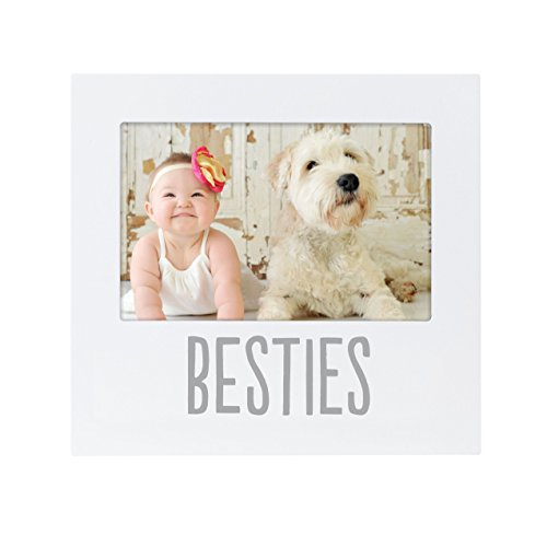 Pearhead Besties Baby and Friend 4' x 6' Keepsake Picture Frame, Nursery Décor, Gift for New Parents, Baby Registry, White