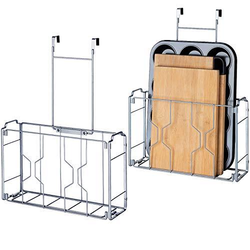 Bextsrack - Organizador para puerta (2 unidades, montaje en pared, organizador y soporte de almacenamiento en cocina o despensa para tabla de cortar, hoja de galletas, plateada)