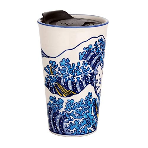 Hinomaru Collection Japanese Asian Design Porcelain Travel Mug Double Wall Insulated Tumbler with Wrap Lid 12 fl oz Coffee Travel Mug Hot or Cold Beverage Hokusai Great Wave