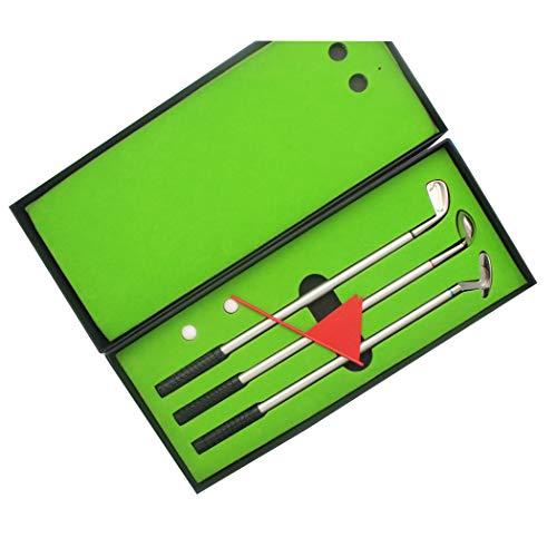 El set de regalo de golf de golf Sipliv (3 colores tinta), mini pelotas de golf incluye un bolígrafo verde, 3 palos de golf y 2 pelotas.