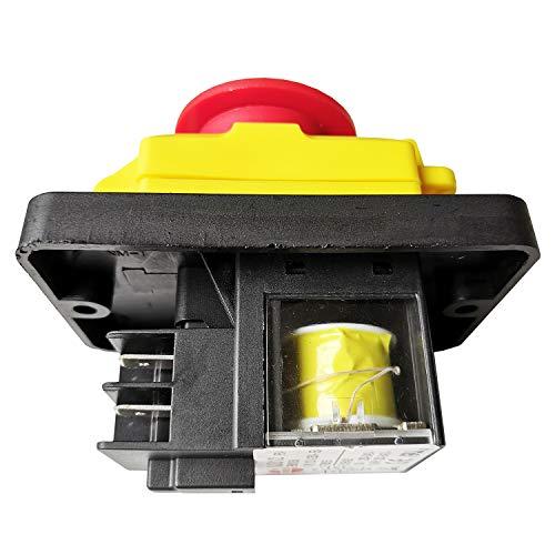 KJD12 250V 16A Wasserdichter Notfall Elektromagnetisch Drucktastenschalter KEDU 4 Pins Industrieschalter für Tischbohrer Schleifer Sah