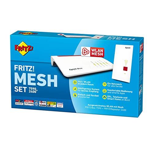 AVM FRITZ! Mesh Set FRITZ!Box 7590 und WLAN Mesh Repeater 2400 deutschsprachige Version (Generalüberholt)