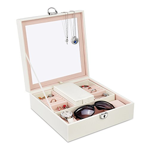 Lesfit Leder Schmuckkästchen, Damen stackers schmuckkasten Schmuckaufbewahrung mit Spiegel für Ohrring Halskette Ringe Uhren und Armbänder 25*25*8.5cm Weiß