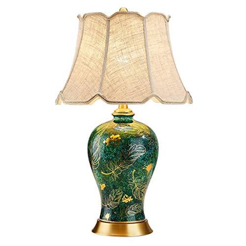 SPNEC Mesa de cerámica lámpara de cerámica lámpara de Mesa lámpara de Noche Dormitorio Estudio salón Nuevo Lujo luz lámpara de Mesa de Cobre en China Pastoral Americana Europea Retro
