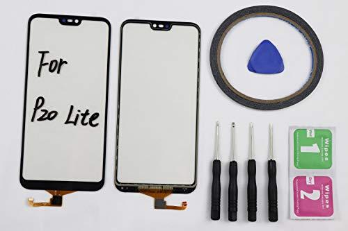 JRLinco Voor Huawei P20 Lite/Nova 3E (zonder LCD) Outer Glas Touch Panel beeldscherm Touch Screen Vervangt voor Huawei P20 Lite/Nova 3E zwart + gereedschappen & dubbelzijdige lijm + alcoholreiniger pakket