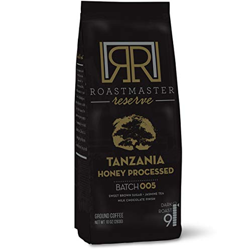 Roastmaster Reserve Dark Roast Coffee (Tanzania Honey Peaberry Coffee) 10oz. Dark Roast Ground Coffee Limited Batch Single Origin Coffee, 100% Arabica Coffee