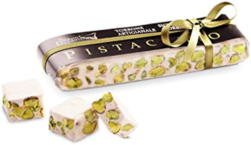 Torrone morbido al pistacchio,prodotto artigianale siciliano,150 gr,senza glutine