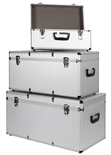 Aluminium 3er Set Boxen Alubox Alukiste Transportbox Werkzeugkiste Box Trucky 2 Farben, Farbe:Silber