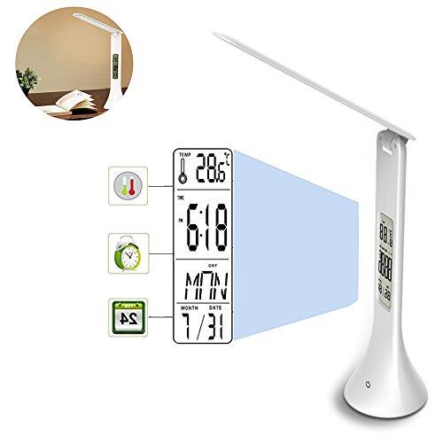 Pawaca LED Lámpara de Escritorio, Plegable Touch Sensitive Control - Lámpara de Mesa con Pantalla LCD de Alarma Reloj Calendario USB Recargables Lectura vacío con Ojo Protección