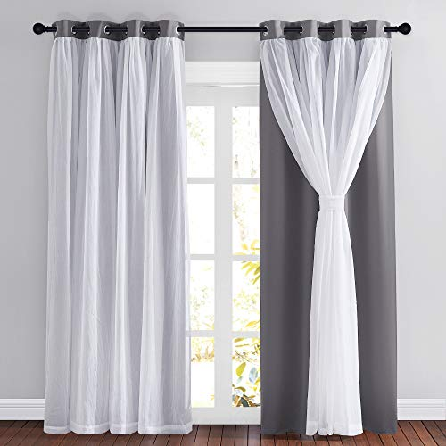 PONY DANCE Gray Blackout Curtains - Crushed White Sheer Voile x Light Block Window Drapes Mix & Match Modern Home Decor, 52 Wide x 95 Long, Grey, 2 PCs