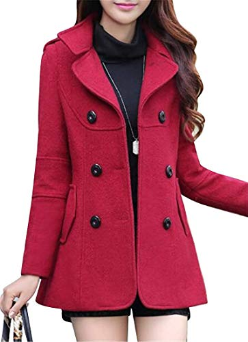 Vrouwen Double Breasted Wool Blend Casual Casual Trench Jacket PEA Coat